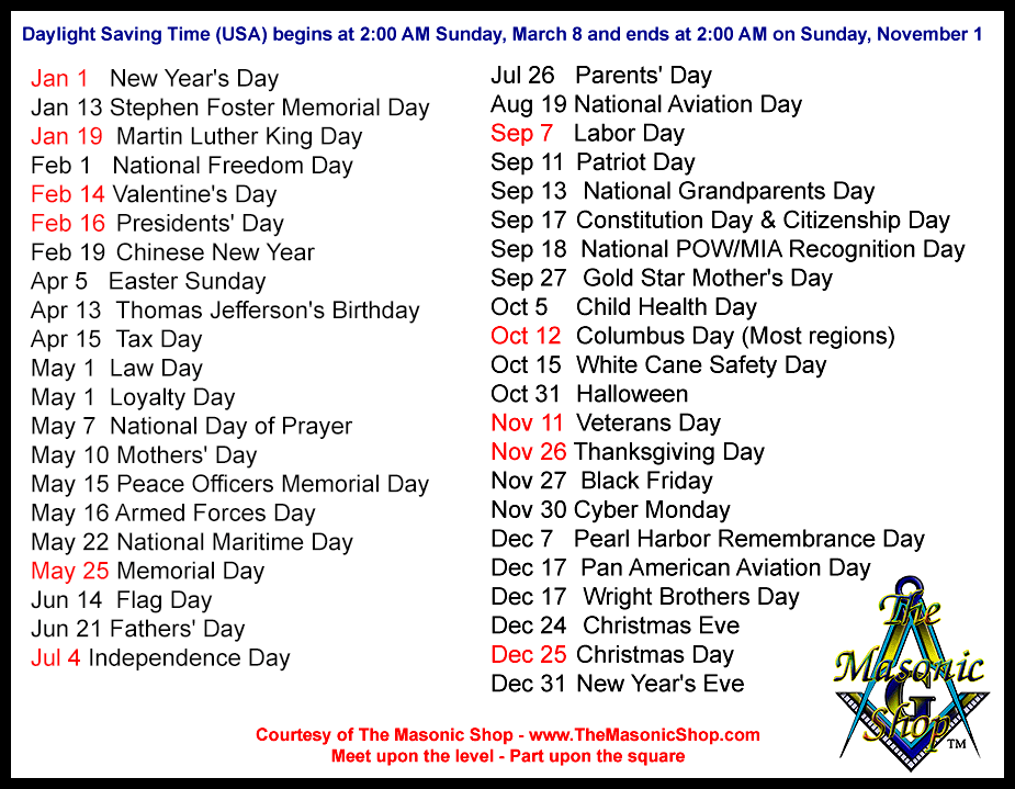 2015 Holidays and Observances